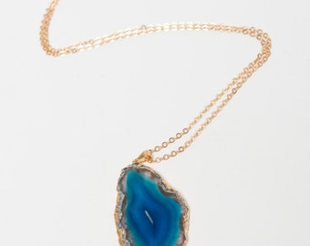 Deep Blue Agate Slice Pendant Necklace