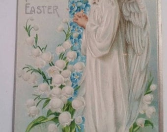 Antique Postcard A Holy Easter Angel in Front of Forget Me Not Cross & Lily of the Valley