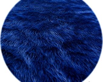 Navy Blue Shaggy Premium Faux Fur Nursery Area Round Rugs Sheepskin Flokati Modern Contemporary Accents Decor