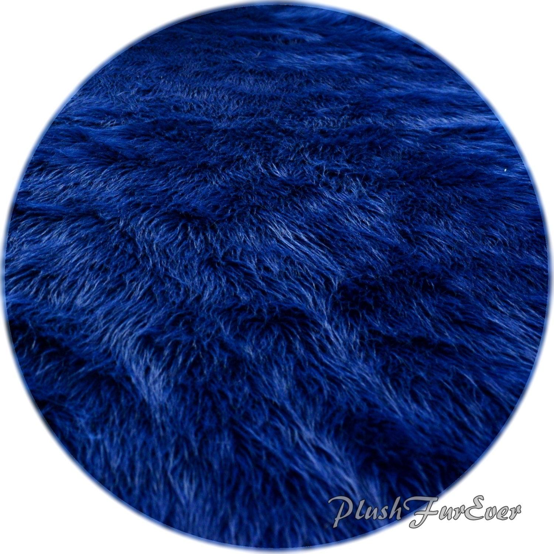 Navy Blue Shaggy Premium Faux Fur Nursery Area Round Rugs