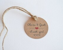 "Mini Thank You 1.5"" Round Kraft Small Label Tags - Custom Wedding Favor & Gift Tags"