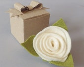 Ivory Felt Flower Rose Hair Clip Brooch Boutonniere Pin with gift box . Handmade flower and leaves with pin back