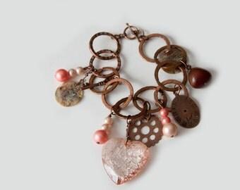 Copper Pale Pink Charm Bracelet