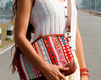 Hand Embroidered Convertible Shoulder Bag PVC Leather Strap, Akha Tribal Fabric, Floral Pattern, Zipper, Ethnic, Boho, Gypsy, White, Diamond