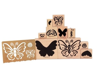 Butterflies Flutterbys Rubber Stamps, Butterfly Set of 10 Wood Block Rubber Stamps + Classy Brass Embossing Stencil Template, Stampin' Up