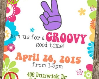 """Second Birthday Invitation - Peace Sign """"two"""""""