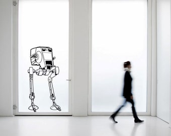 Scifi art inspired by Star Wars AT-ST chicken walker Large vinyl wall decal scifi decor