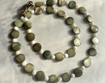 Taupe & white mother of pearl necklace. Elegant, shimmering handmade jewelry. Long lengh