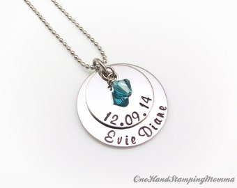 Hand Stamped Jewelry - Personalized Necklace - Personalized Mom Necklace - Mom Necklace - Mother Necklace - Grandma Necklace - Nana Necklace
