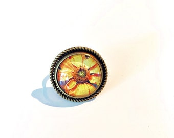 Wildflower Vintage Brass Ring