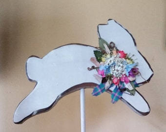 Spring Jumping Bunny Made Out Of Wood, Shelf Decor