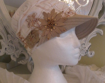 Oh so Funky linen patchwork Hat with assymetrical linen fabric brim and Co-ordinating beaded faux suede flower embellishment