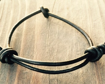 "FREE SHIPPING in USA!  Fantastic Slip Knot Adjustable Leather ""Knot"" Bracelet on 3mm Leather Cord Custom Sizes Available"
