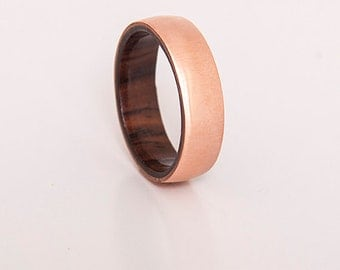mens wedding ring copper ring with inner wood band any wood