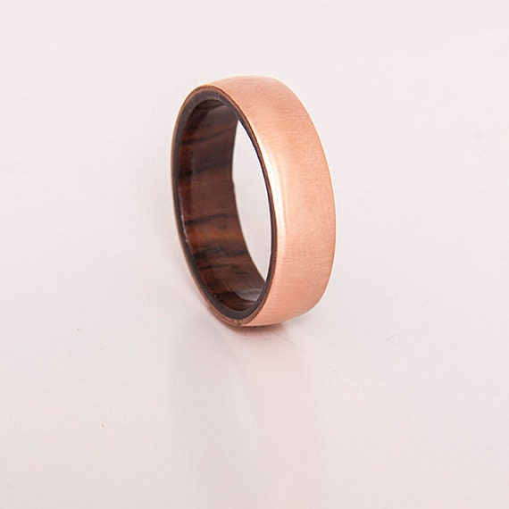 Mens wedding ring copper ring with inner wood band any wood for Mens copper wedding rings
