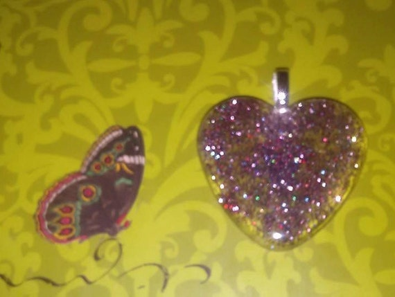 Pendant - Multi Glitter Purple Heart