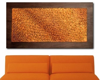 3D Wall Panel - Textured Painting -  Wall Sculpture - Abstract Wall Art - Rust Red - Orange