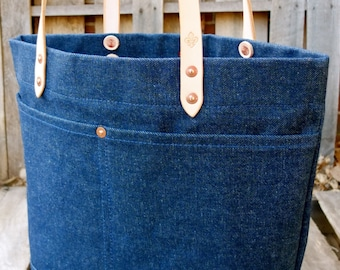 Waxed Denim Tote Bag with Leather Handles - Large Denim Tote Perfect for Everyday or Travel