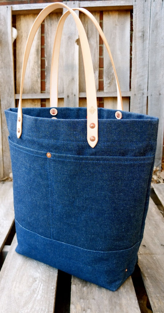Waxed Denim Tote Bag With Leather Handles Large Denim Tote