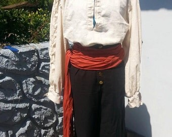 Rugged Linen Poet Shirt - Men and Women - Natural, White or Black - Medieval, Pirate, Rennaissance, Prince, Knight, LARP, Cosplay
