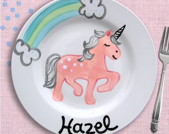 Pink Unicorn Plate - Personalized Girls Plate - Unicorn and Rainbow - Hand Painted Ceramic Plate - Unicorn Birthday Party - Everyday Plate