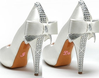 Set of 2 Wedding/Bridal shoe decals-I Do and Me Too