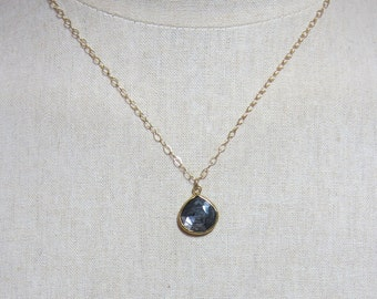 Black moonstone necklace - 14k gold filled chain.