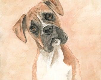 Boxer Dog Original Watercolor Painting Archival Print