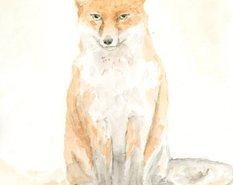 Fox Original Watercolor Painting Archival Print