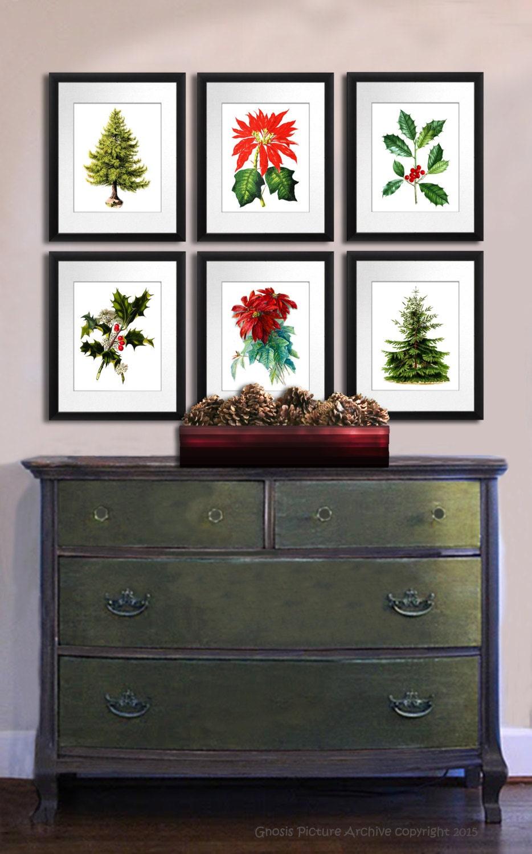 Christmas Wall Decor Set of 6 Art Prints by