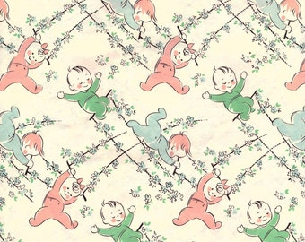 Vintage Wrapping Paper - Baby Shower - A gift for baby - Babies swinging