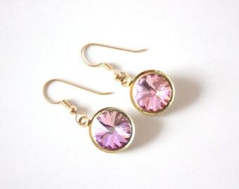 Vitrail Light Swarovski Rivoli Gold Filled Drop Earrings, Rivoli Drop Earrings, Gold Filled Drop Earrings, Valentines Gifts, Gifts For Her