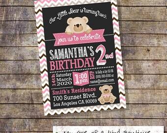 Teddy Bear birthday invitation birthday party bear invite pink brown chevron digital printable invitation DIY you print invitation 13415