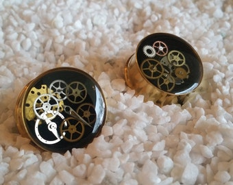 1 Inch (25mm) Gold IP Steampunk Plugs - Double Flare - set A2
