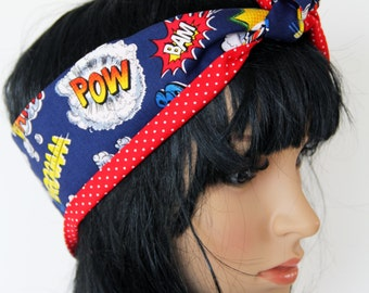 Retro Reversible Blue Comic Script Hair Wrap. Head Scarf. Bandana . Vintage Style. Great Gift for Girls and Ladies