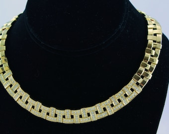 Gold Toned Choker Necklace and Earrings