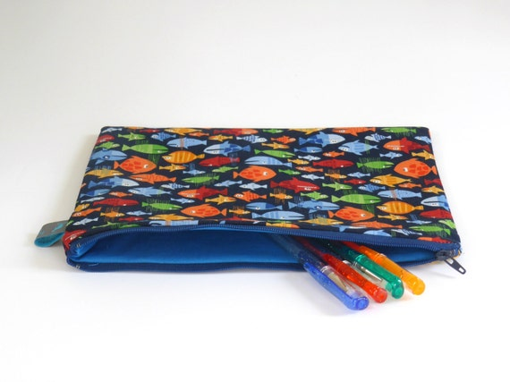 Fish themed pencil case zipper pouch by ollieandroo on etsy for Fish pencil case