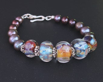 Lampwork, pearls and silver bracelet