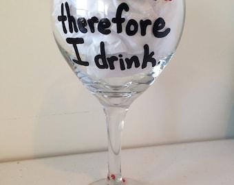 Teacher Wine Glass - I teach therefore I drink