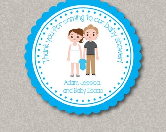 Personalized Baby Shower Stickers with Customized Characters & Names