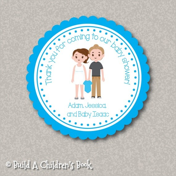 personalized baby shower stickers with customized characters names