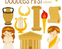 Going Greek Digital Clip Art for Scrapbooking Card Making Cupcake Toppers Paper Crafts