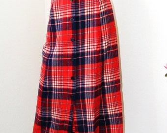 Vintage 1970s Pendleton Pure Virgin Wool Plaid Button up Skirt- size 10