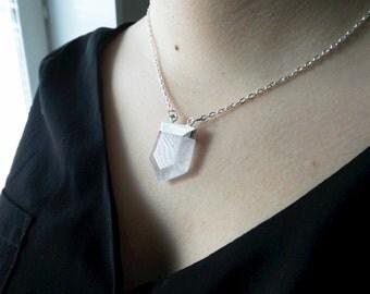 Om sale Quartz crystal necklace: Raw crystal quartz point Necklace, Quartz pencil stone jewelry pendant, Silver dipped Quartz