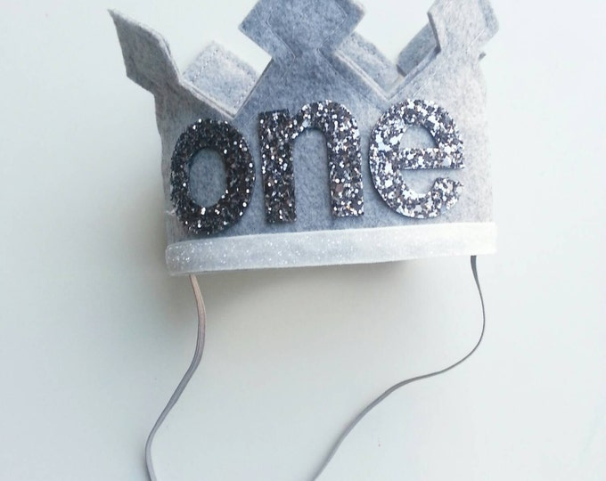 Grey Felt First Birthday Crown | Birthday Crown | Boy Birthday Crown | Cake Smash | 1st Birthday |
