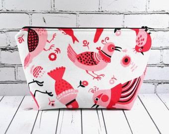 Pink Bird Zipper Pouch, Bird Makeup Bag, Bird Make Up Bag