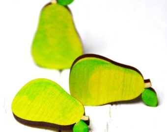 SALE! Hand Painted Wood Pear Brooch