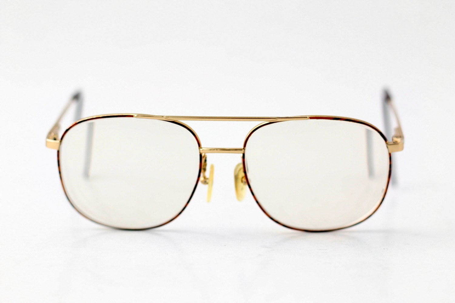 Gold Metal Glasses Frames : Vintage Tortoise Gold Metal Eyeglasses / Hipster Unisex Mens