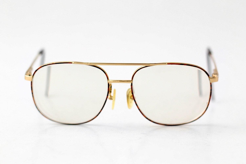 Mens Hipster Eyeglass Frames : Vintage Tortoise Gold Metal Eyeglasses / Hipster Unisex Mens