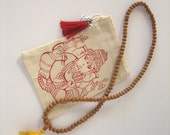 Red Ganesha.  Bag of organic cotton, silk tassel, bell and Om. Small, Medium or Large Size